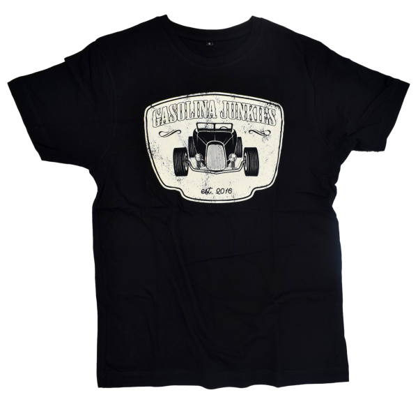 Gasolina Hotrod Shirt black white fron