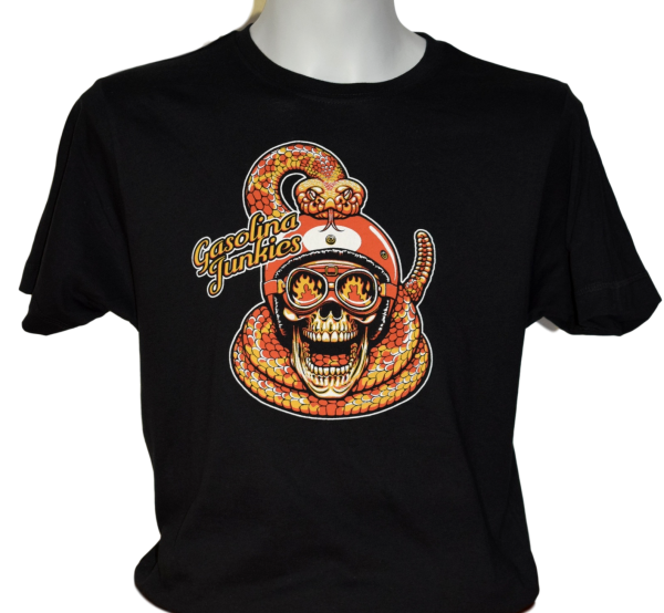 Gasolina Junkies Shirt Snake and Skull